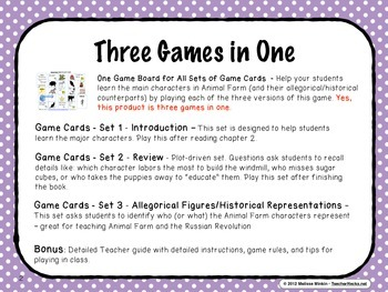 Animal Farm Characters – 3 Board Games for Students