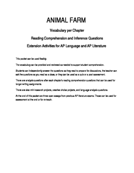 Animal Farm Comprehension, Analysis and Creativity Packet AP English