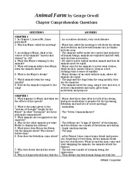 Animal Farm Chapter Comprehension Questions AND Answers