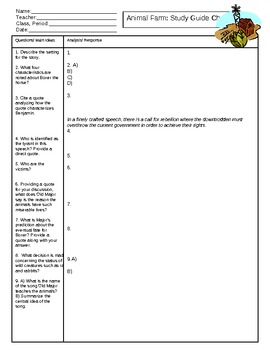 Animal Farm Comprehensive Study Guide Chapters 1-10