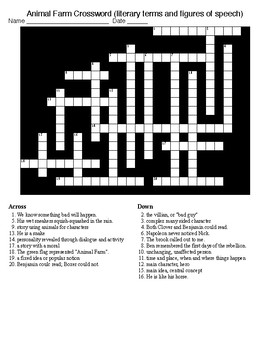 Animal Farm Crossword and Word Search  with KEYS