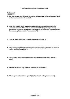 Animal Farm English-Spanish Questions & Tests