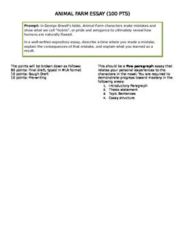 Animal Farm Essay Teaching Resources  Teachers Pay Teachers Animal Farm Essay Prompt Animal Farm Essay Prompt Examples Of An Essay Paper also Examples Of Persuasive Essays For High School  Custom Writing Review