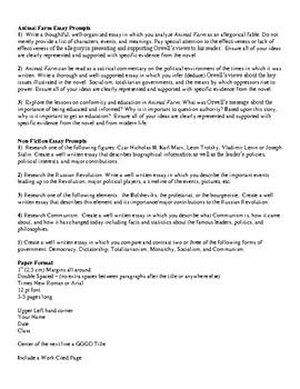 Animal Farm Essay Teaching Resources  Teachers Pay Teachers Animal Farm Essay Prompts Animal Farm Essay Prompts Essay About Healthy Lifestyle also Assignmenthelp  English Essay Websites
