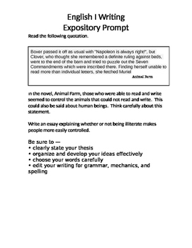 Animal Farm - Expository Prompt