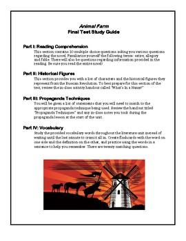 Animal Farm Final Test/Exam Study Guide