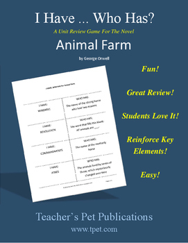 Animal Farm I Have Who Has Novel Review Game