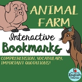 Animal Farm Interactive Bookmark: Questions, Analysis, Vocabulary