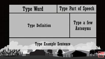 Animal Farm Digital Interactive Vocabulary Flashcard Template