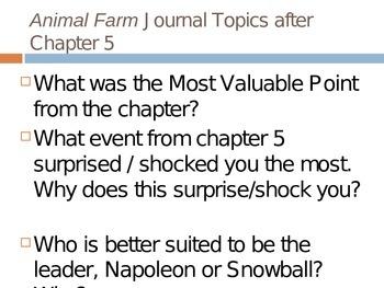 Animal Farm - Journal Response Questions - George Orwell