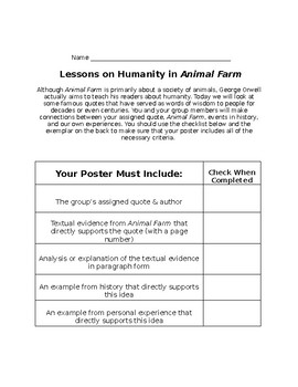 Animal Farm Connections to Famous Quotes (teach anytime after chapter 4)