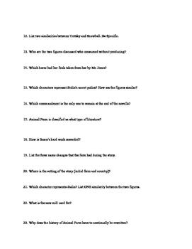 Animal Farm (Orwell) Reading Comprehension Test