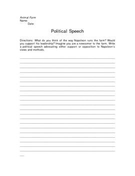 Animal Farm Political Speech Writing Assignment