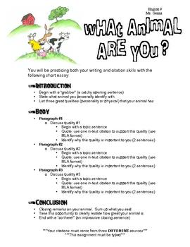 Animal Farm Pre-Reading Essay (MLA Format)