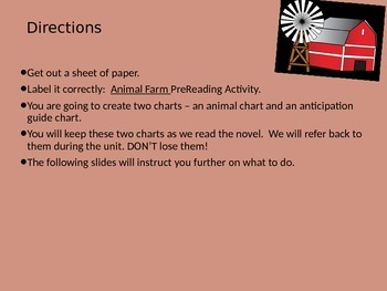 Animal Farm Pre and Post Reading Activity
