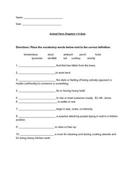 Animal Farm Quiz Chapters 1-4