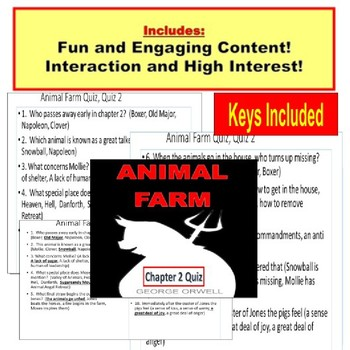 Animal Farm Quizzes, chapters 1-10:  Paperless, PowerPoint Quizzes