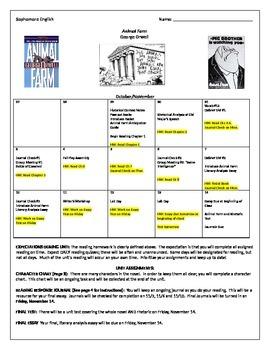 Animal Farm Reading Calendar and Journal