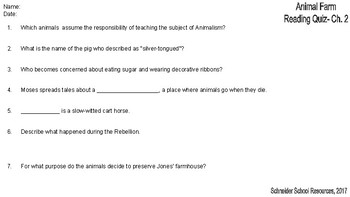 Animal Farm Reading Comprehension Quiz Bundle: Chapter 1-10