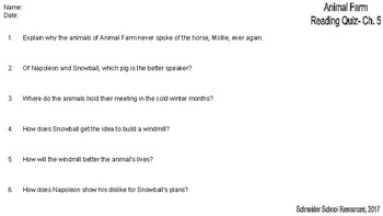 Animal Farm Reading Comprehension Quiz: Chapter 5