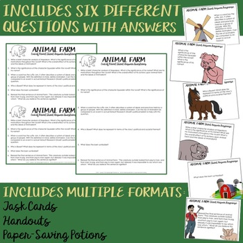 Animal Farm Short Response Questions and Task Cards