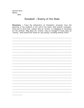 Animal Farm Snowball Enemy of the State Writing Assignment
