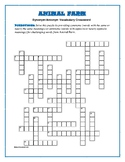 Animal Farm: Synonym Antonym Vocab Crossword—Use with Bookmarks Plus!
