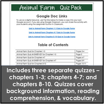 Animal Farm Test and Quiz Pack with Three Quizzes and a Comprehensive Final Exam