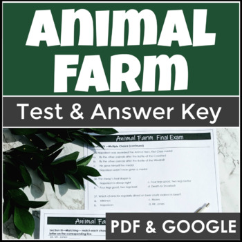 Animal Farm Test and Answer Key with Multiple Choice and a Short Essay