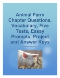 Animal Farm Questions, Vocab, Tests, Essays, and Project with Answer Keys