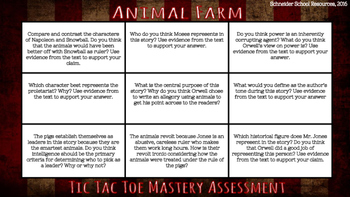 Animal Farm Tic Tac Toe Mastery Assessment