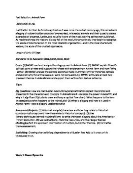 Animal Farm Unit Plan - 8th or 8th grade