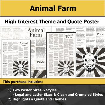 Animal Farm - Visual Theme and Quote Poster for Bulletin Boards