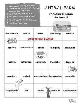 Animal Farm Vocabulary Bingo