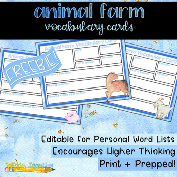 Animal Farm Vocabulary Cards