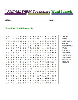Animal Farm Vocabulary Word Search