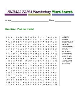 Animal Farm Vocabulary Word Search