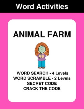 Animal Farm - Word Search Puzzles, Word Scramble,  Secret Code,  Crack the Code