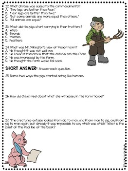Animal Farm by George Orwell Chapter 10 Reading Comprehension Questions