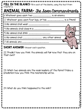 Animal Farm by George Orwell Chapter 2 Reading Comprehension Questions