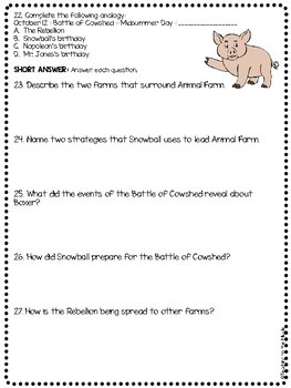 Animal Farm by George Orwell Chapter 4 Reading Comprehension Questions