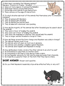 Animal Farm by George Orwell Chapter 5 Reading Comprehension Questions