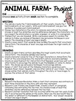 Animal Farm by George Orwell Choice Projects- Writing, Research, Drawing