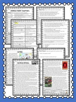 Animal Farm by George Orwell Unit, Chapter Questions, Test, Project