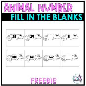 Animal Fill in the Missing Number Cards 10-400
