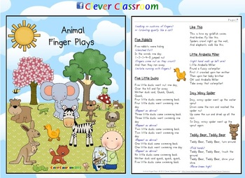 Animal Finger Plays - 14 Pages