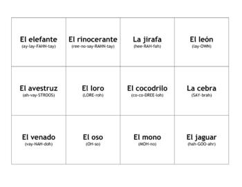Animal Flashcards in Spanish