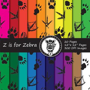 Animal Foot Prints Digital Paper Pack 1 - Commercial Use ok