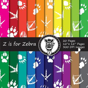 Animal Foot Prints Digital Paper Pack 3 - Commercial Use ok
