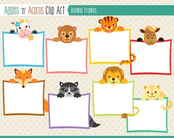 Animal Frames Clip Art - color and outlines